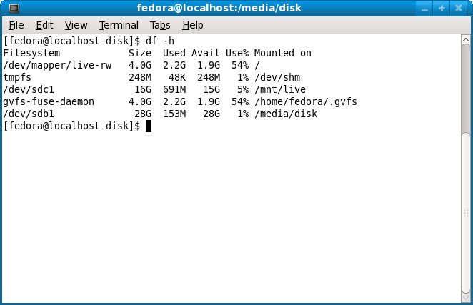 df -h on Fedora9